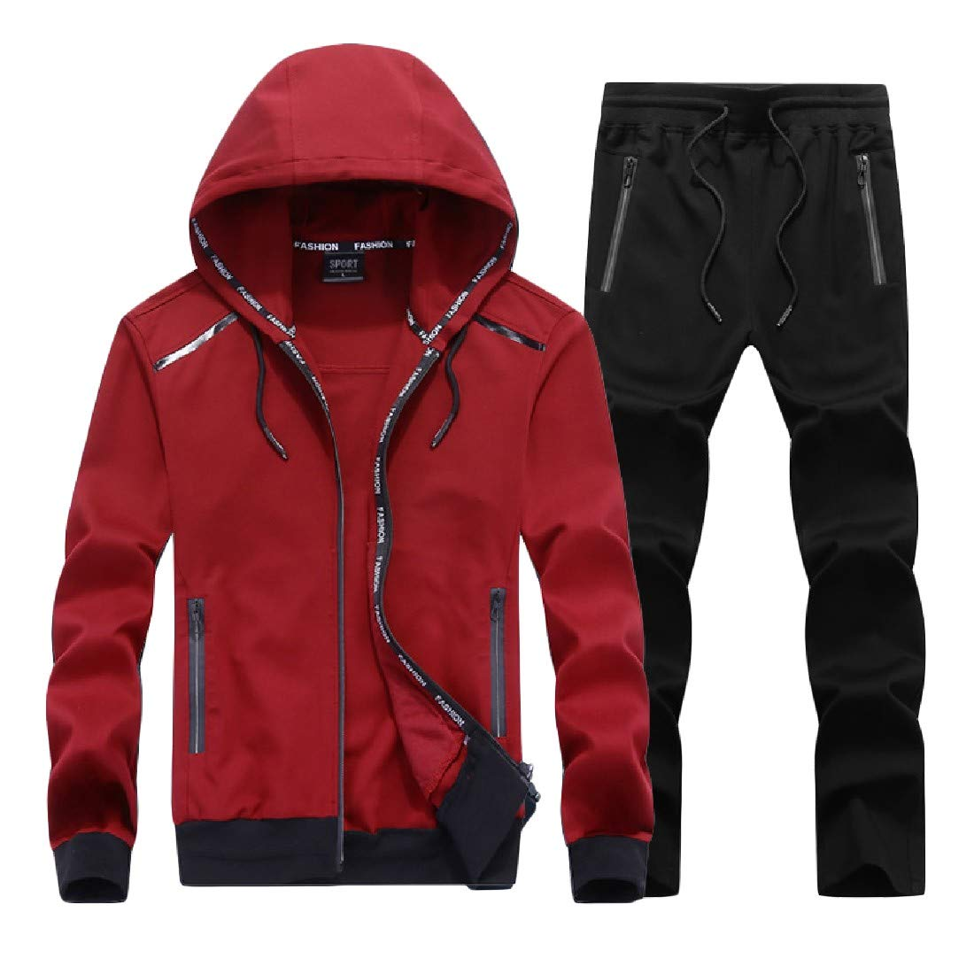 TaoNice Mens Plus Size Athletic Casual Vogue Pullover Sweatpants Set
