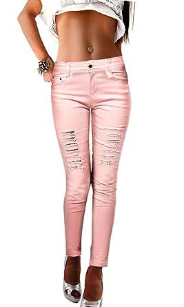 elegante Schuhe Promo-Codes Werksverkauf Damen Jeans Hosen eng zerrissen in schwarz weiß rosa Stretch ...