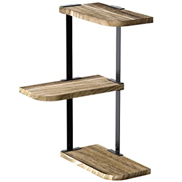Love-KANKEI Corner Shelf Wall Mount of 3 Tier Rustic Wood Floating Shelves  for Bedroom Living Room Bathroom Kitchen Office and More Carbonized Black