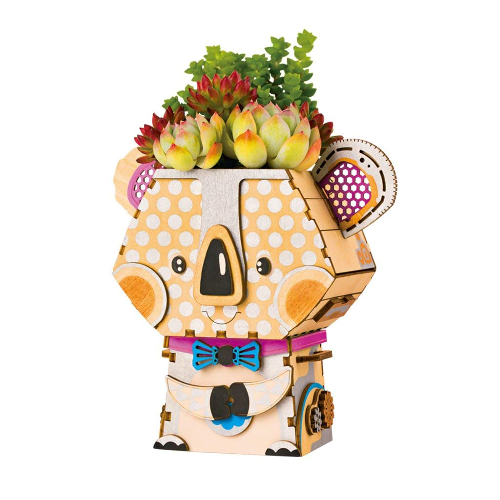 El pote de flor fijó/DIY los mini muebles de madera fijados/modelo del Koala/decoración al aire libre de interior/regalo cumpleaños de Navidad