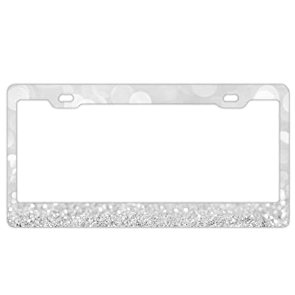 Amazon.com: YEX Abstract Silver Glitter And Light License Plate ...