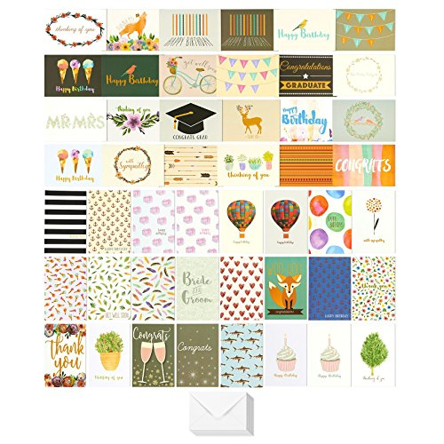 48 Pack Assorted All Occasion Greeting Cards - Includes Birthday, Wedding, Thank You Note Cards Assortment - Bulk Box Set Variety Pack with Envelopes Included - 48 Designs - 4 x 6 Inches Age Note Cards