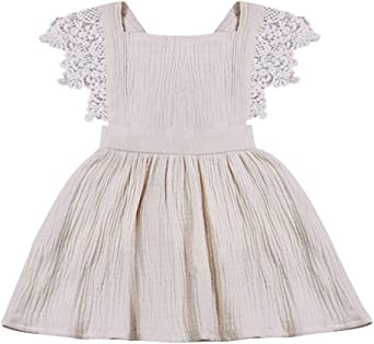Princess Kids Baby Girl Summer Cotton/&Linen Solid Color Party Dress Sundress