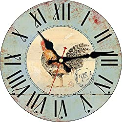 MEISTAR Wooden 14 Inch Big Simple Home Decoration Animal Wall Clock,Vintage Classic Rooster Pattern Silent Quiet Non Ticking Battery Round Wall Clock