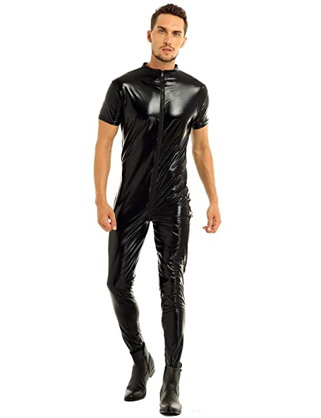 Men/'s Clubwear Party Sleeveless Bodysuit Faux Leather Jumpsuit Wet Look Romper