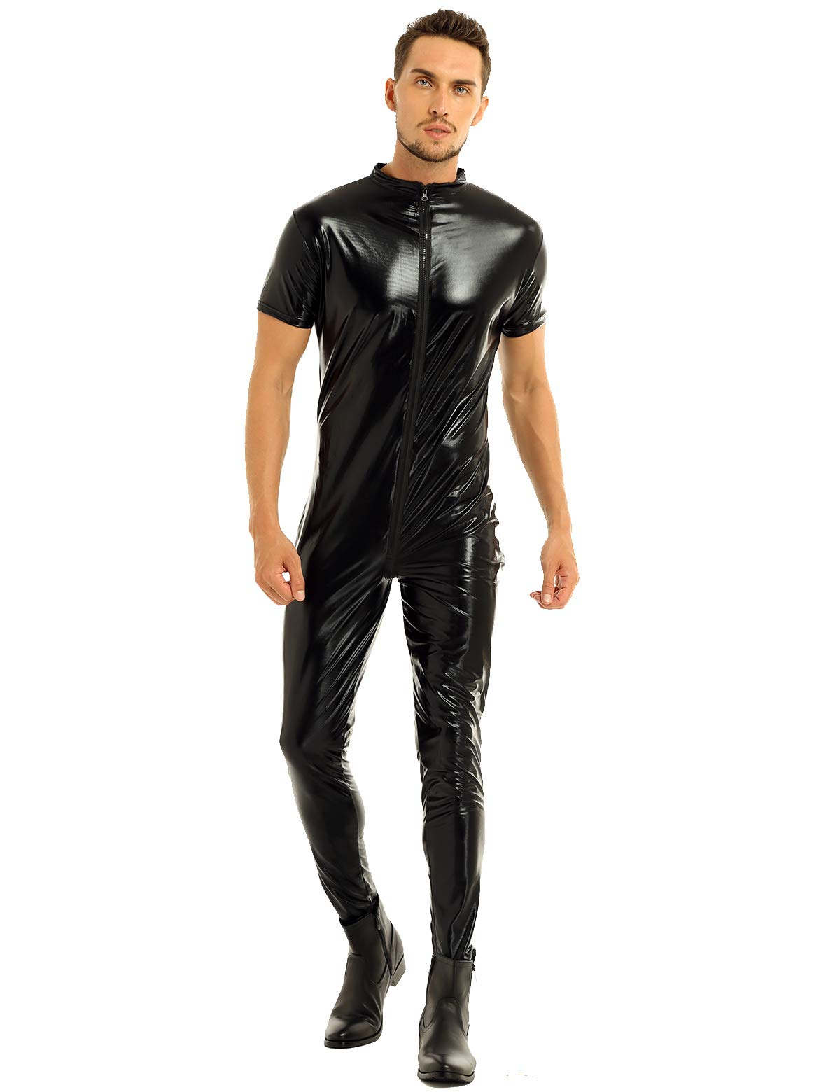 Inhzoy Mens Stretchy Patent Leather Short Sleeves Zipper Crotch Full Body Leotard Bodysuit Black Large