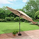 Better Homes and Gardens Aluminum Umbrella with Taupe Solution-Dye Polyester Fabric with Tilt and Crank, 9' (274.32 cm)