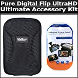 Ultimate Accessory Kit For The Pure Digital Flip Video Camera UltraHD Camcorder 3rd Generation FVU32120B, U32120W NEWEST MODEL Includes Slim Protective Hard Case + Clear LCD Screen Protectors