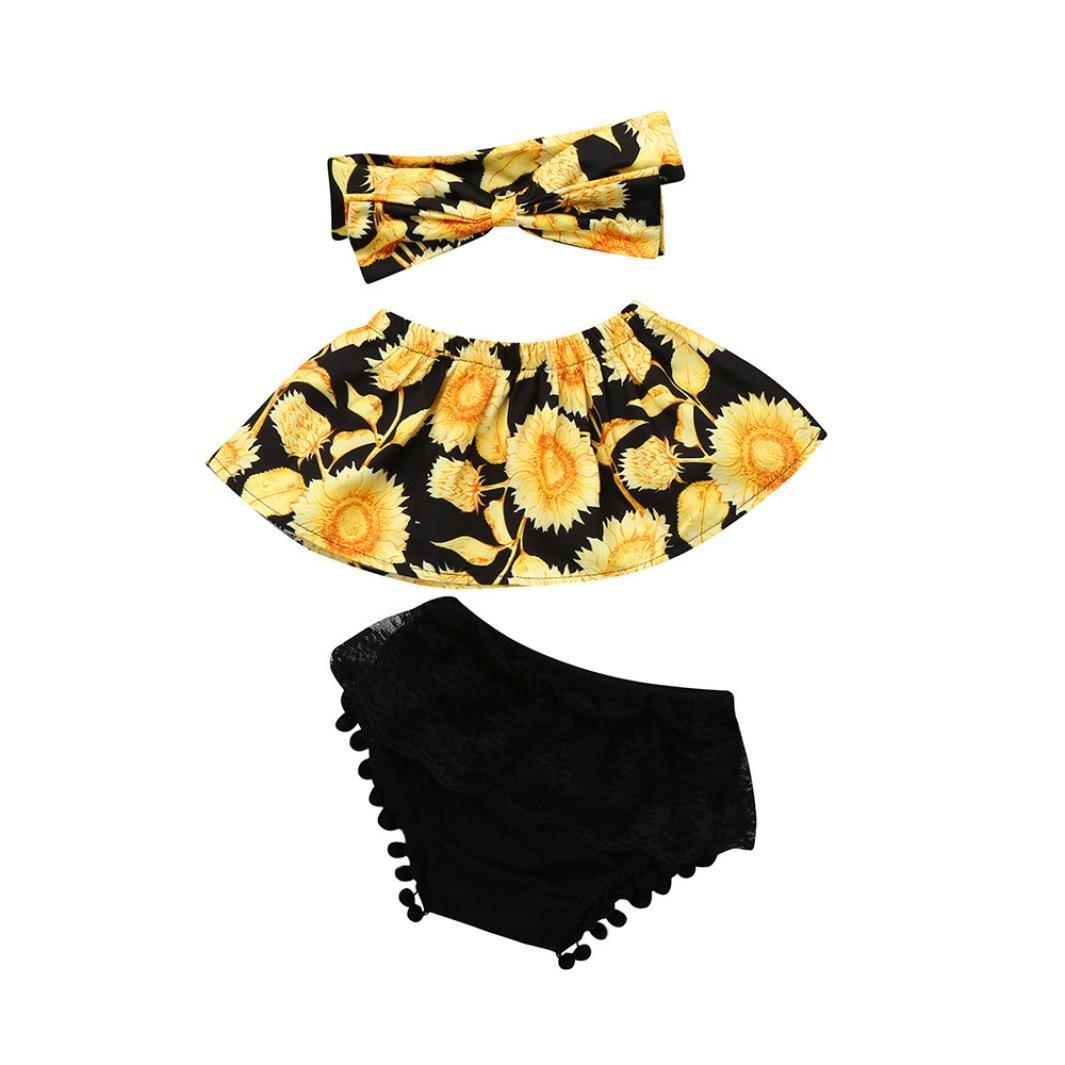 Fossen Bebe Ropa Verano - Girasol Tops y Encaje Pantalones Corto con Banda de Pelo