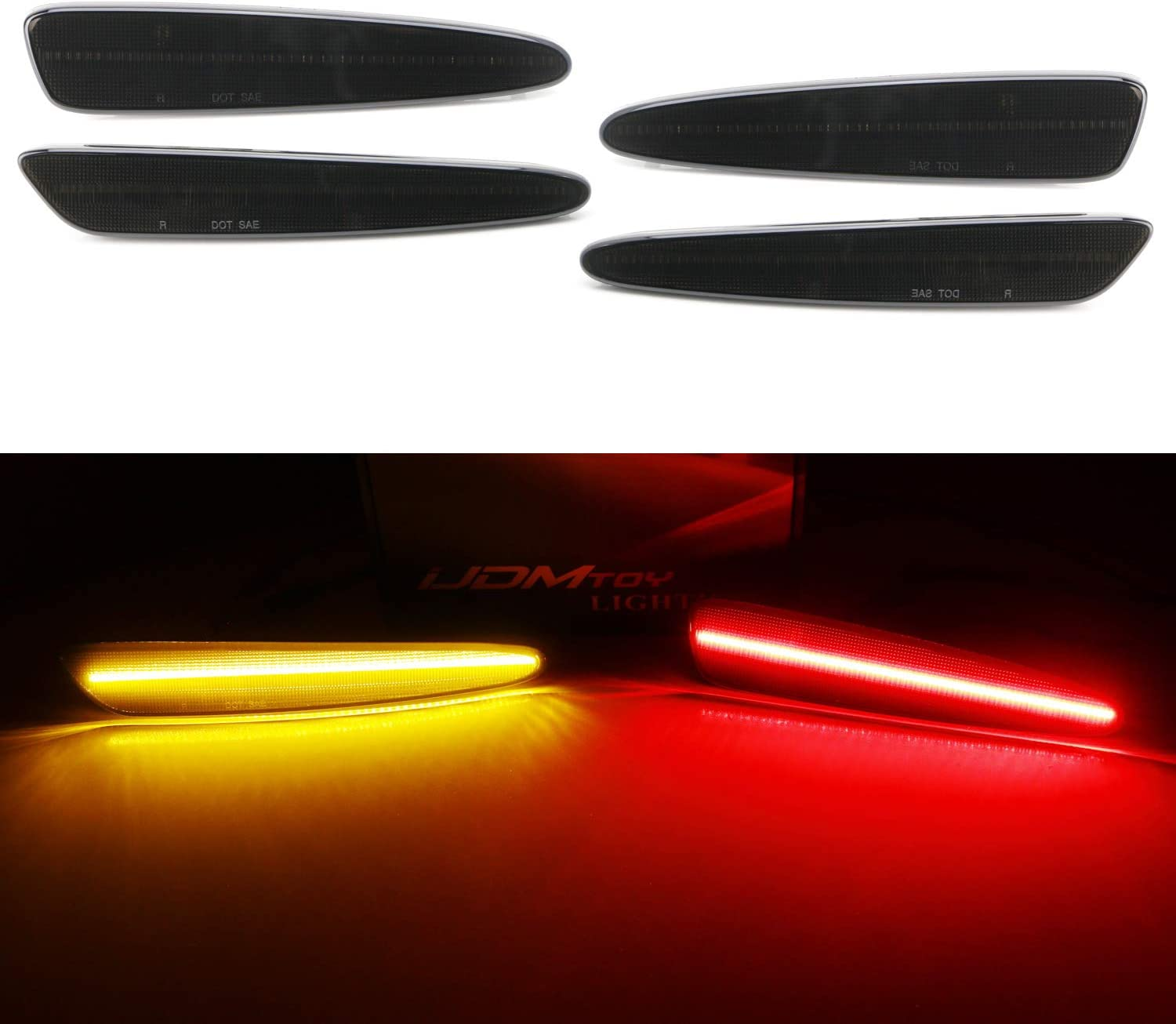 iJDMTOY Clear Lens Full LED Strip Rear Side Marker Light Kit Compatible With 1999-2004 Chevy C5 Corvette Replace OEM Sidemarker Lamps Powered by 50-SMD LED