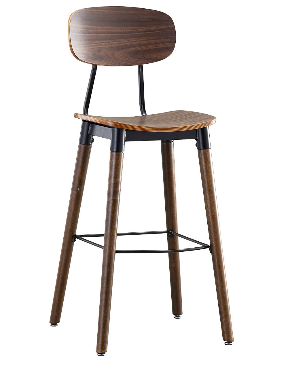 Amazon Com Ok Furniture 30 Inch Pub Bar Height Barstool Modern Industrial Dining Bar Stool Chairs With Wood Seat And Backrest Rustic Brown Finish 1
