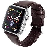 Apple Watchバンド 【SLEO】アップルウォッチ専用バンド Apple Watchシリーズ4/2/3/1 44mm/42mm通用 本革 保護ベルト 腕時計バンド 薄型 腕時計バンド(44mm/42mm ブラウン)