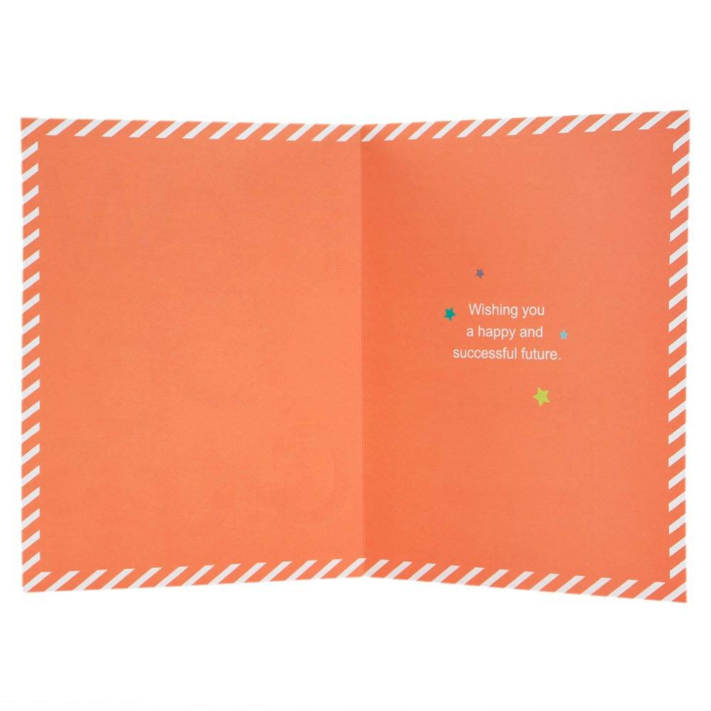 Tarjeta de felicitaci/ón por nuevo trabajo dise/ño con mensaje humor/ístico tama/ño grande Hallmark color plateado