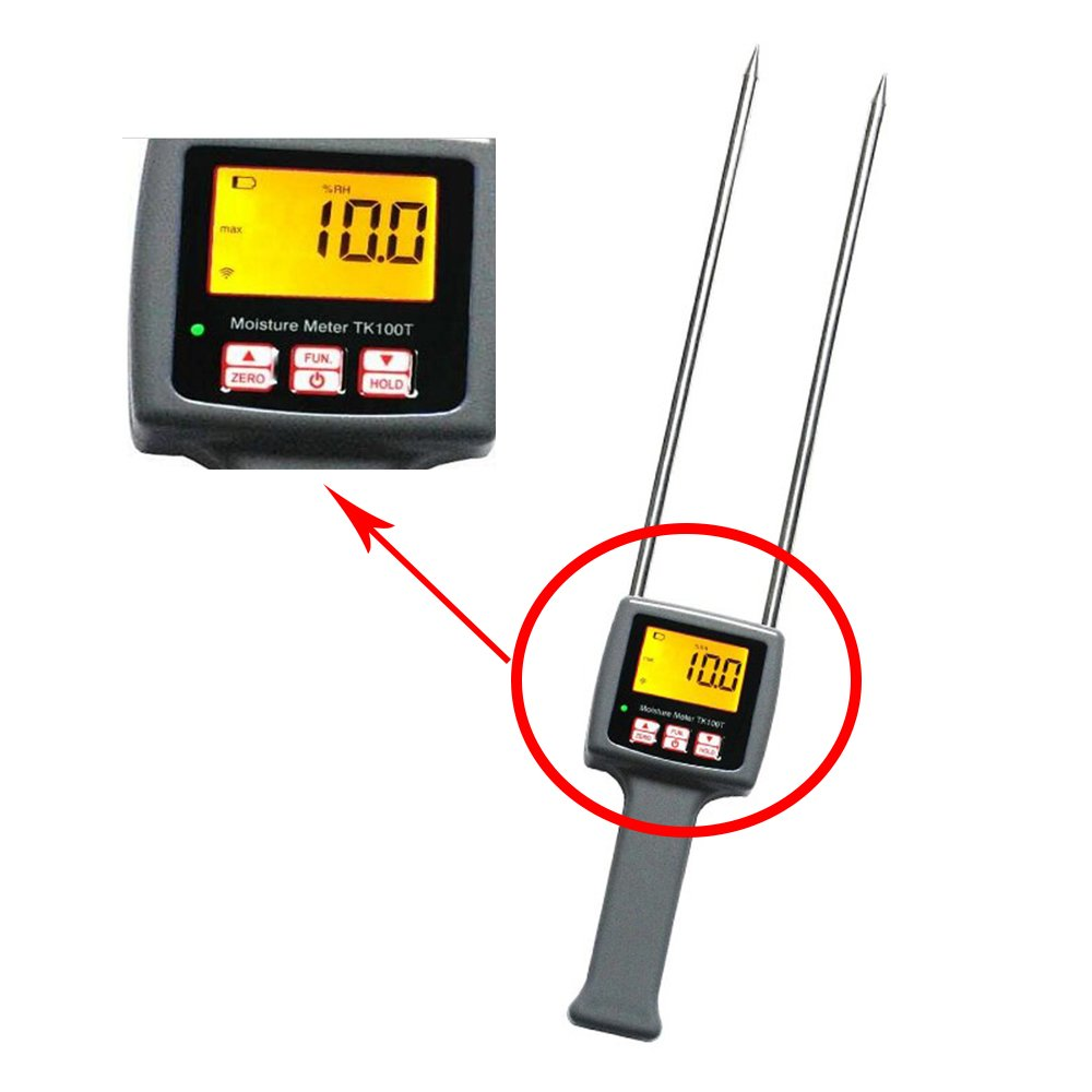 CNYST Digital Tobacco Moisture Meter Tester TK100T with LCD Display Measuring Range 8 to 40 Percent