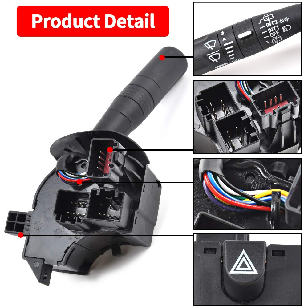Multi-Function Combination Switch Turn Signal fits Ford Explorer Washers Wiper Expedition,Mercury Mountaineer OTUAYAUTO Replace OEM 2L2Z13K359AAB Hazard Switch Cruise Control