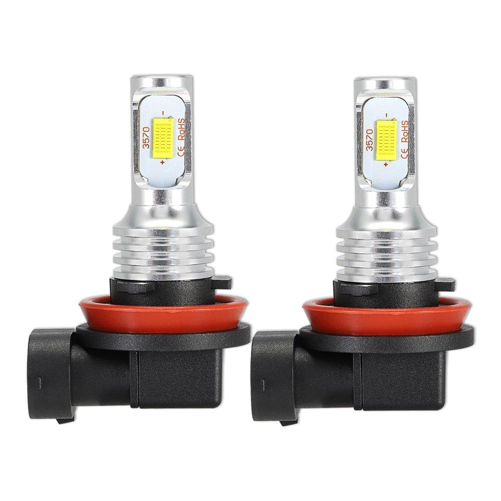 NOVSIGHT 2PCS H11 LED Phare Antibrouillard pour Voiture Auto DC 12V ~24V 22W(11Wx2) 1700LM(850LMx2) 6000K Blanc IP67 Etanche Garantie 2 Ans CSP LED Chips
