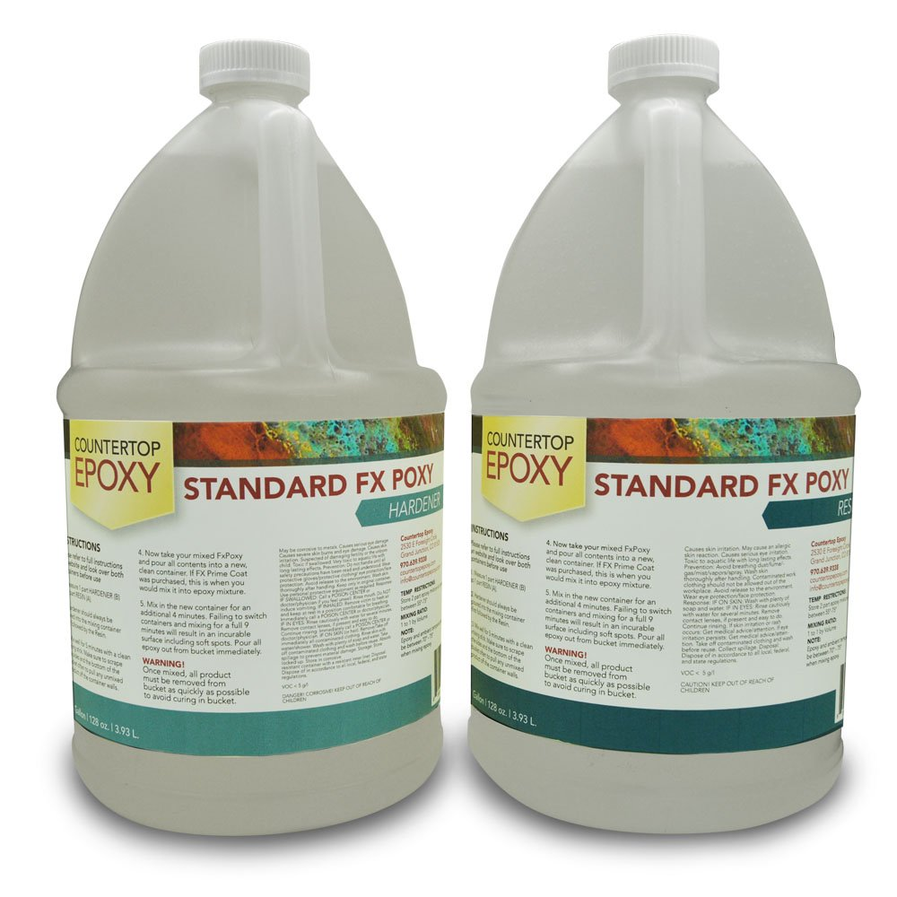 Countertop Epoxy Standard FX Poxy With UV Resistant Resin, 128 OZ. (Pack of 2)
