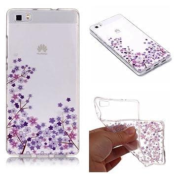 QFUN Funda Huawei P8 Lite 2016 Silicona Transparente, Suave Carcasa Flexible con Dibujos [Flor de Cerezo Morado] Ultra Slim Fina Gel TPU Bumper Case ...