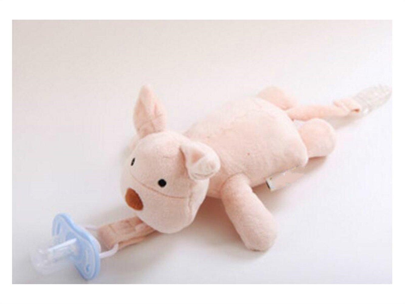 UHUA Dentición del bebé Chupete Clip chupete de bebé cadena Cadena chupete sostenedores Clip de cerdo Juguete de peluche de cerdo muñeca para juguetes de ...