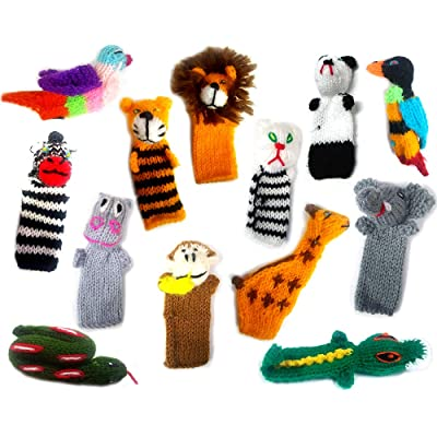 Handmade Knit Finger Puppet 12 Piece Set Children Kids Toddler School Educational Story Telling Play Time Theme Show Toy - 1 Dozen Assorted Jungle Zoo Animals Wildlife: Toys & Games