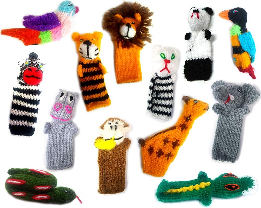 Birds, Jungle, sea animals and more Peruvian Handmade Finger Puppets Sets of 5
