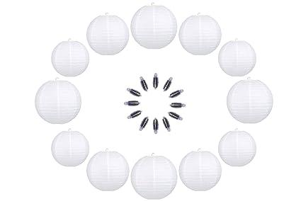 Rokamar 12 linternas de Papel Blanco con Luces LED, decoración de Interiores y Exteriores,