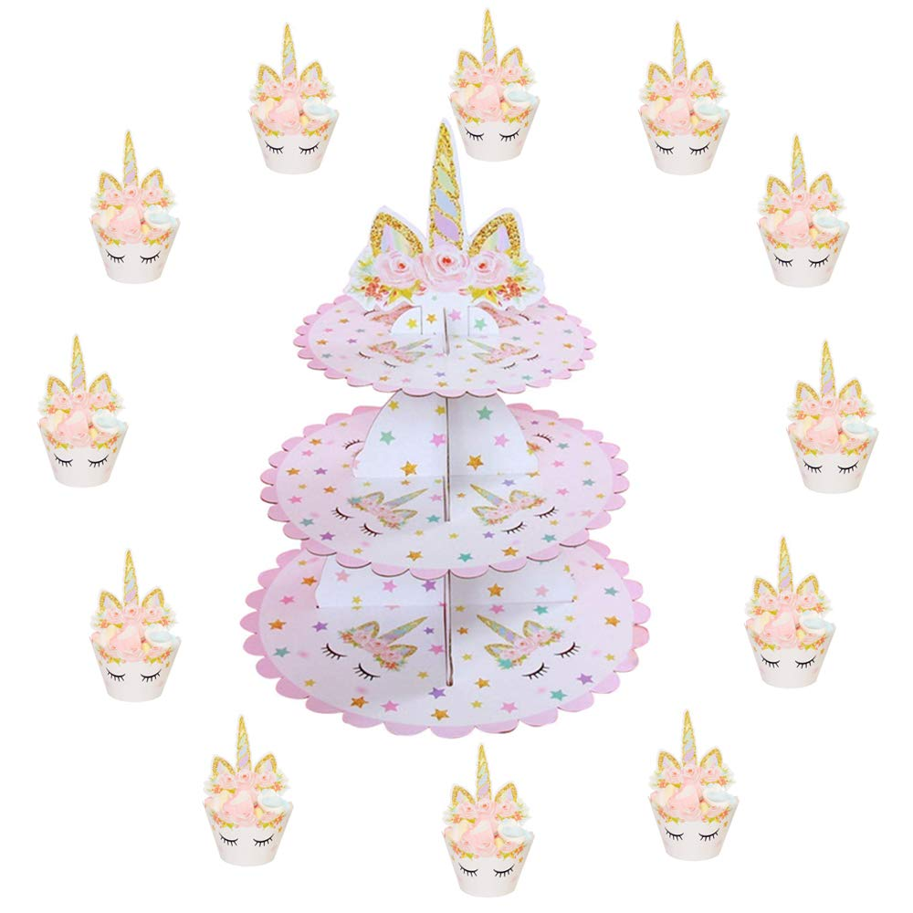 3 Tier Unicorn Cake Stand | Unicorn Cupcake Toppers and Wrappers of 12 Set - Unicorn Party Cake Decorations - Unicorn Theme Party Supplies by BBX