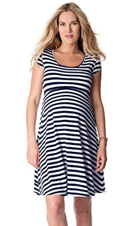 ad3448f034236 Zenicham Women's Sexy Slim Round Neck Short Sleeveless Horizontal Stripe  Leica Maternity Dress