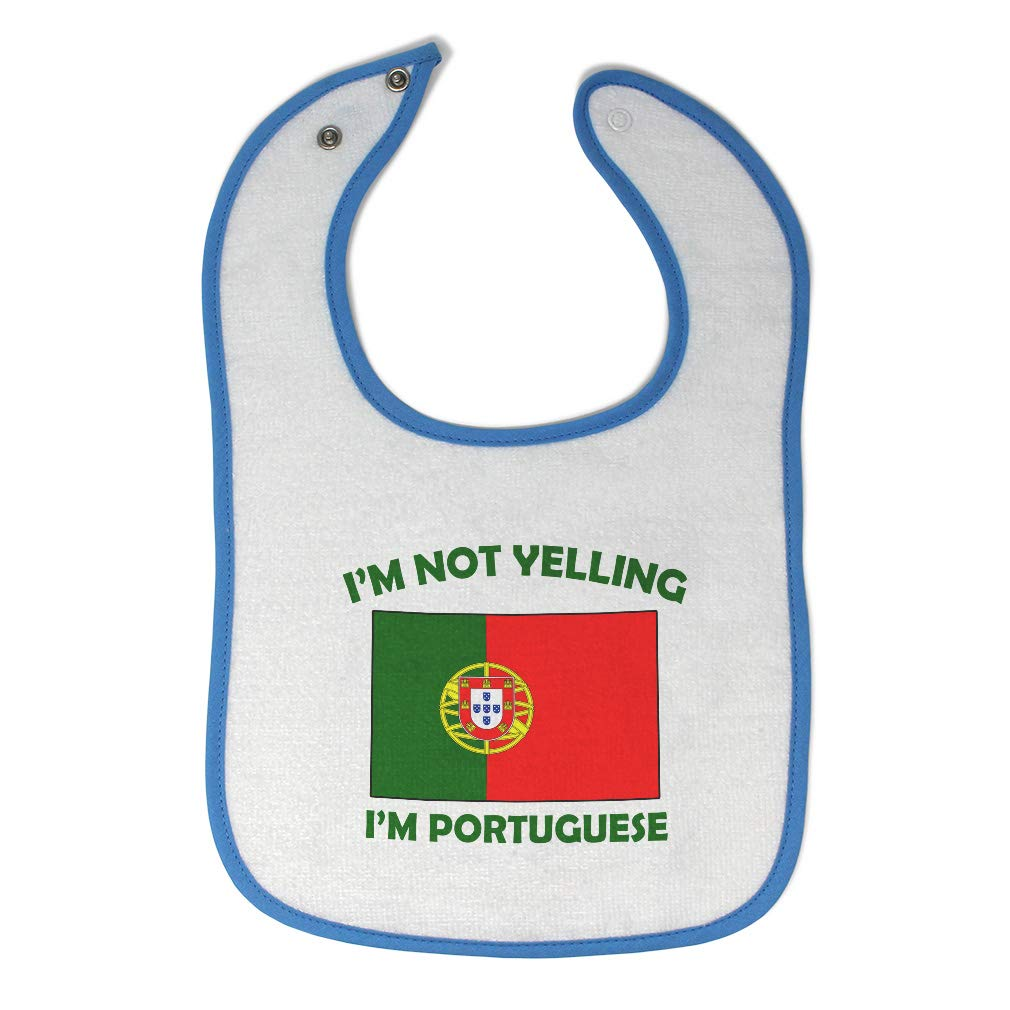Custom Baby Bibs Burp Cloths Im Not Yelling I Am Portuguese Portugal Cotton Baby Items for Baby Girl /& Boy White Black Design Only