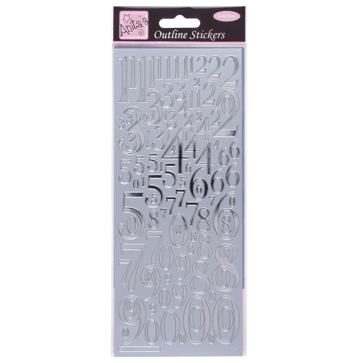 Anita's Mixed Numbers Outline Stickers - Silver docrafts 8101013