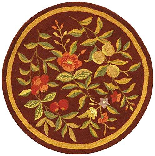 Safavieh Chelsea Collection HK210C Hand-Hooked Burgundy Premium Wool Round Area Rug (5'6