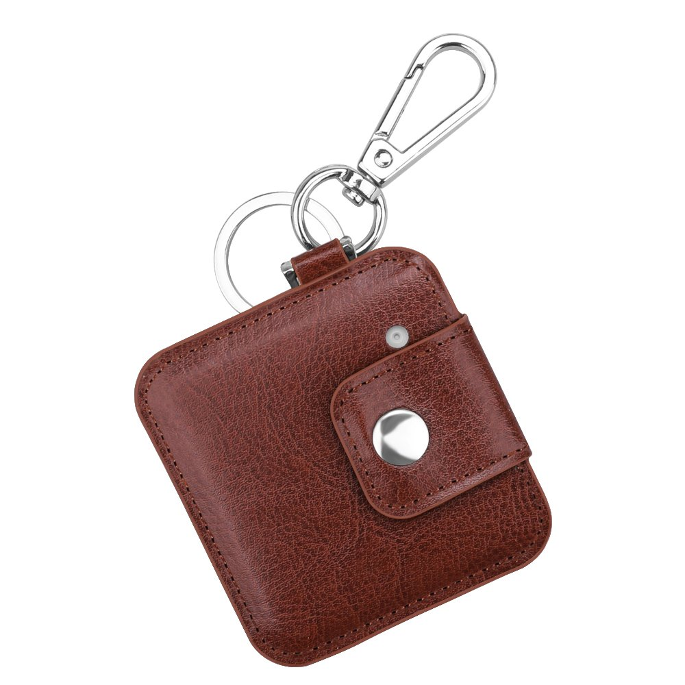 Fintie Tile Slim Case with Carabiner Keychain, Anti-Scratch Vegan Leather Protective Skin Cover for Tile Slim Item Tracker Phone Finder, Brown