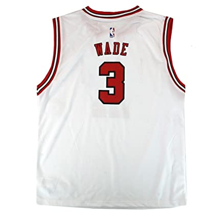online store f4af8 bd576 Outerstuff Dwyane Wade NBA Chicago Bulls Official Home White Player Replica  Jersey Youth
