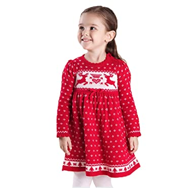 Toddler Christmas Dress.Toddler Kids Girls Christmas Dress Reindeer Snowflake Xmas Knit Sweater Dress