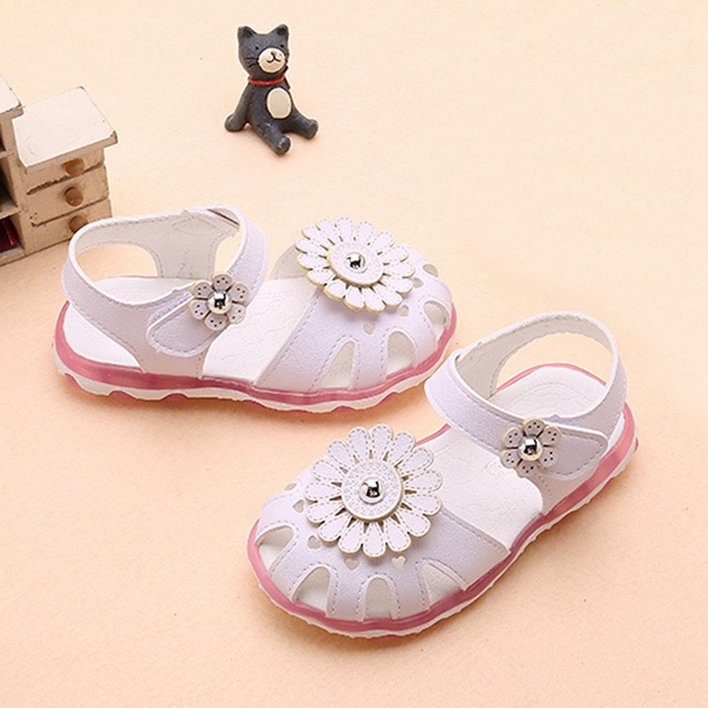Pink Toddler//Little Kid CYBLING Girls Closed-Toe Leather Solid Flower Outdoor Sport Casual Sandals
