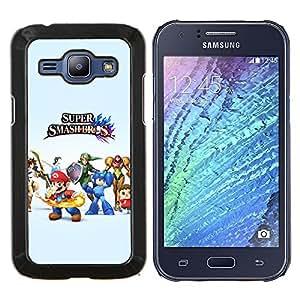Qstar Arte & diseño plástico duro Fundas Cover Cubre Hard Case Cover para Samsung Galaxy J1 J100 (Super Smash Brothers)