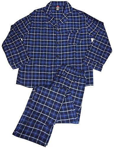 Hanes Classics Big and Tall Flannel Plaid Pajama (Blue XL-T)