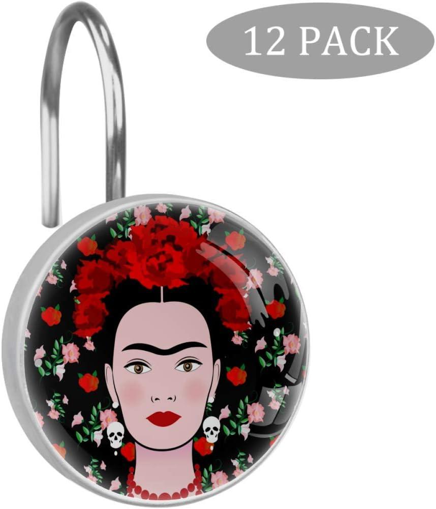 dise/ño de Mujer Mexicana Ganchos para Cortina de Ducha Color Verde Acero Inoxidable Estilo 08 12 Unidades Eslifey Frida Kahlo 3.7x3.7cm