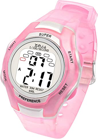 Relojes Niños, Reloj Digital para Niños y Niñas, Resistente al Agua, Reloj de Pulsera Digital con Despertador, cronómetro, Fecha, Semana y Calendario (Rosado): Amazon.es: Relojes