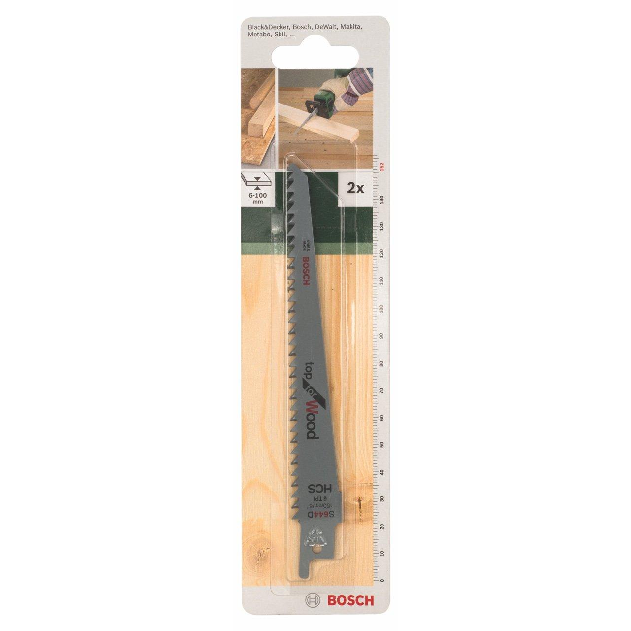 Bosch 2609256701 Jeu de 2 lames de scie sabre HCS 131 mm pour Coupes nettes dans le bois de construction et les panneaux de 6 à 100 mm d'épaisseur