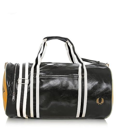 Fred Perry Classic Barrel Bag Negro & Amarillo: Amazon.es