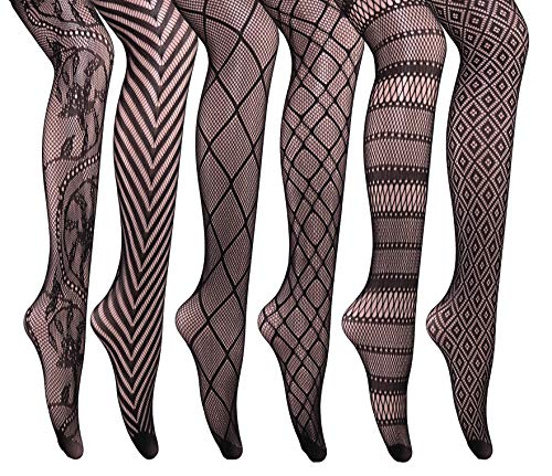 CozyWow Women's Hollow Out Fishnet Sheer Patterned Pantyhose Tights 6 Pairs