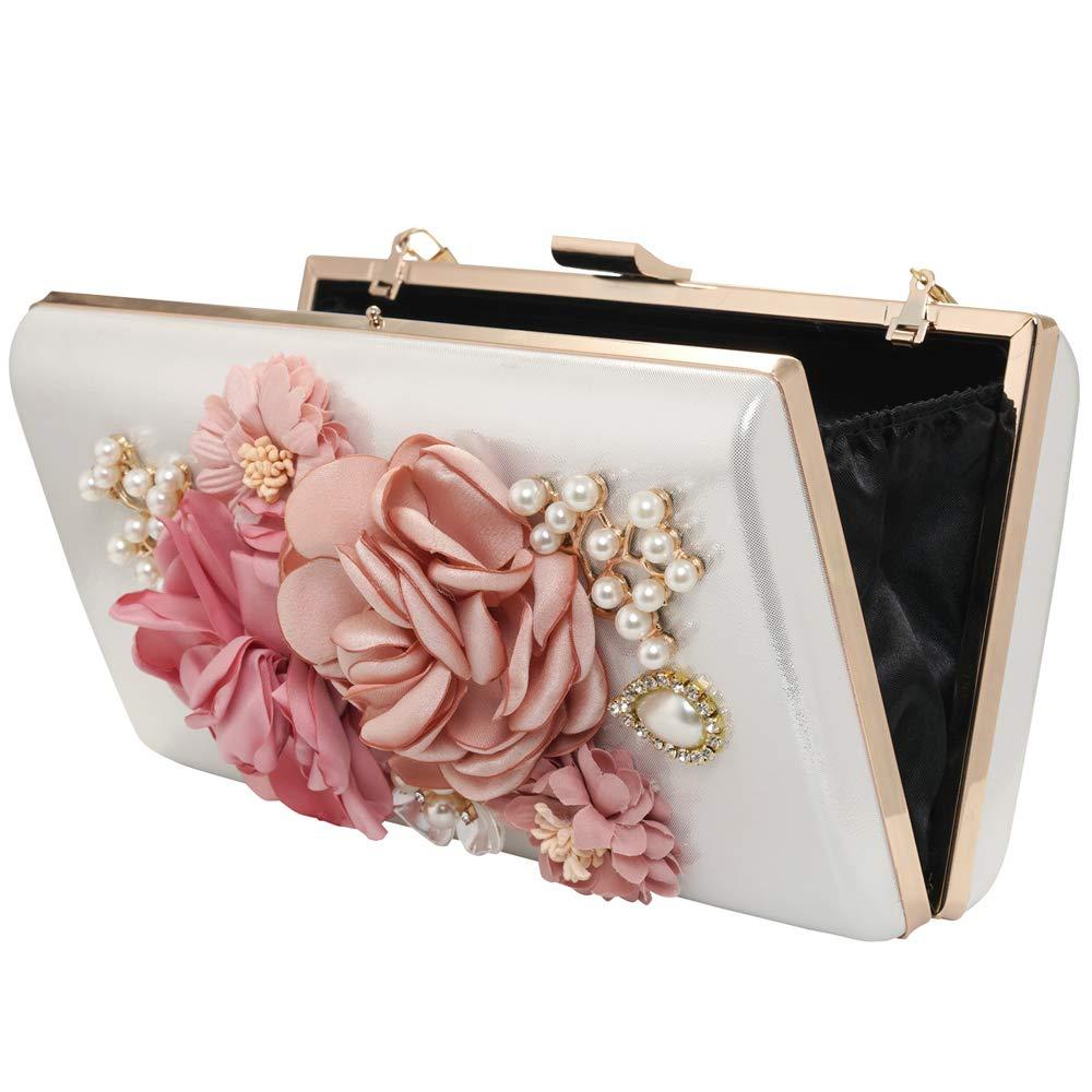 Women Evenig Bag Clutch Flowers Wedding Prom Purse Bridal PU Handbag Party Bags (White)