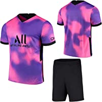 ZJFSL Camiseta de fútbol Paris Away # 7 Mbappé Conjunto de Camisetas de fútbol Rosa Morado Conjunto de Camiseta y…