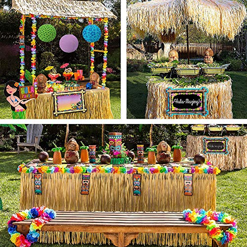Party City Full Tiki Party Decorating Kit, Includes Tiki Bar, Signs, Decorations, Table Skirt, Centerpiece Kit and - Kit Centerpiece