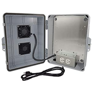 """Altelix Vented NEMA Enclosure 14x11x5 (9"""" x 8"""" x 3.2"""" Inside Space) Polycarbonate + ABS Weatherproof with Cooling Fan, Aluminum Equipment Mounting Plate, Pre-Wired 120 VAC Outlets, 5 Foot Power Cord"""
