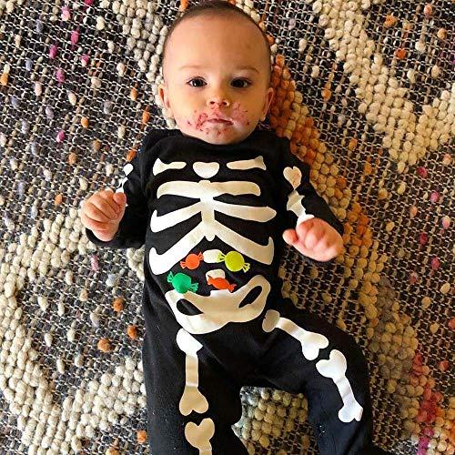 MOKO-PP Newborn Toddler Baby Halloween Bone Candy PrintRomper Jumpsuit CasualClothes(black,70)