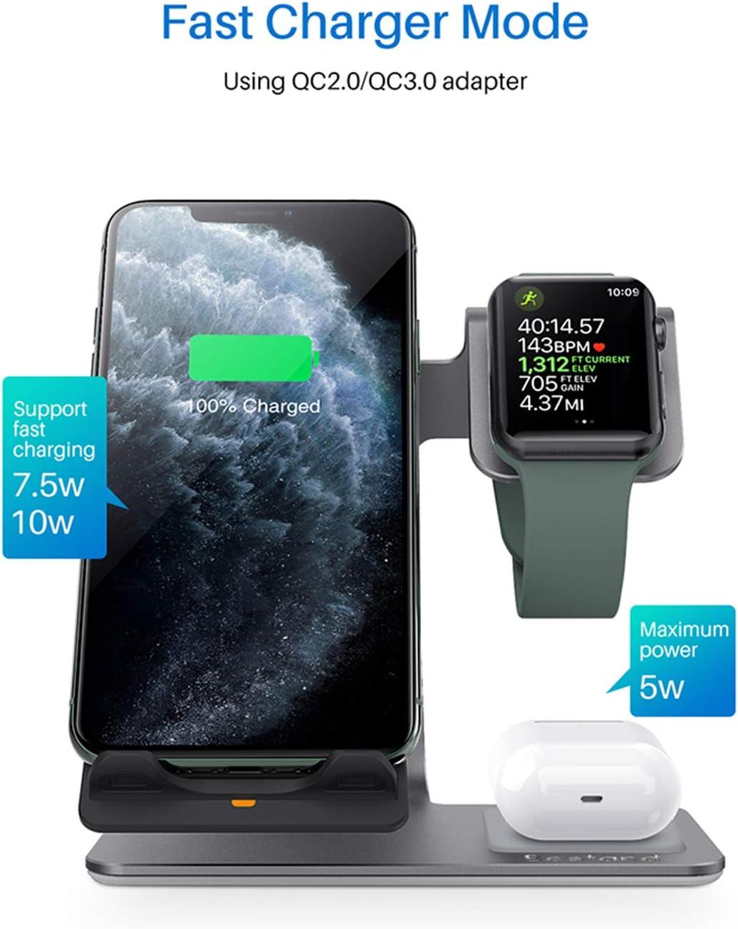 ASHLGQB 3 in1 Veloce Senza Fili caricabatteria Compatibile per Iphone11 / 11Por / Xsmax Wireless Modifica per Airpods Charging Dock per Iwatch4 / 3,Grigio Gray