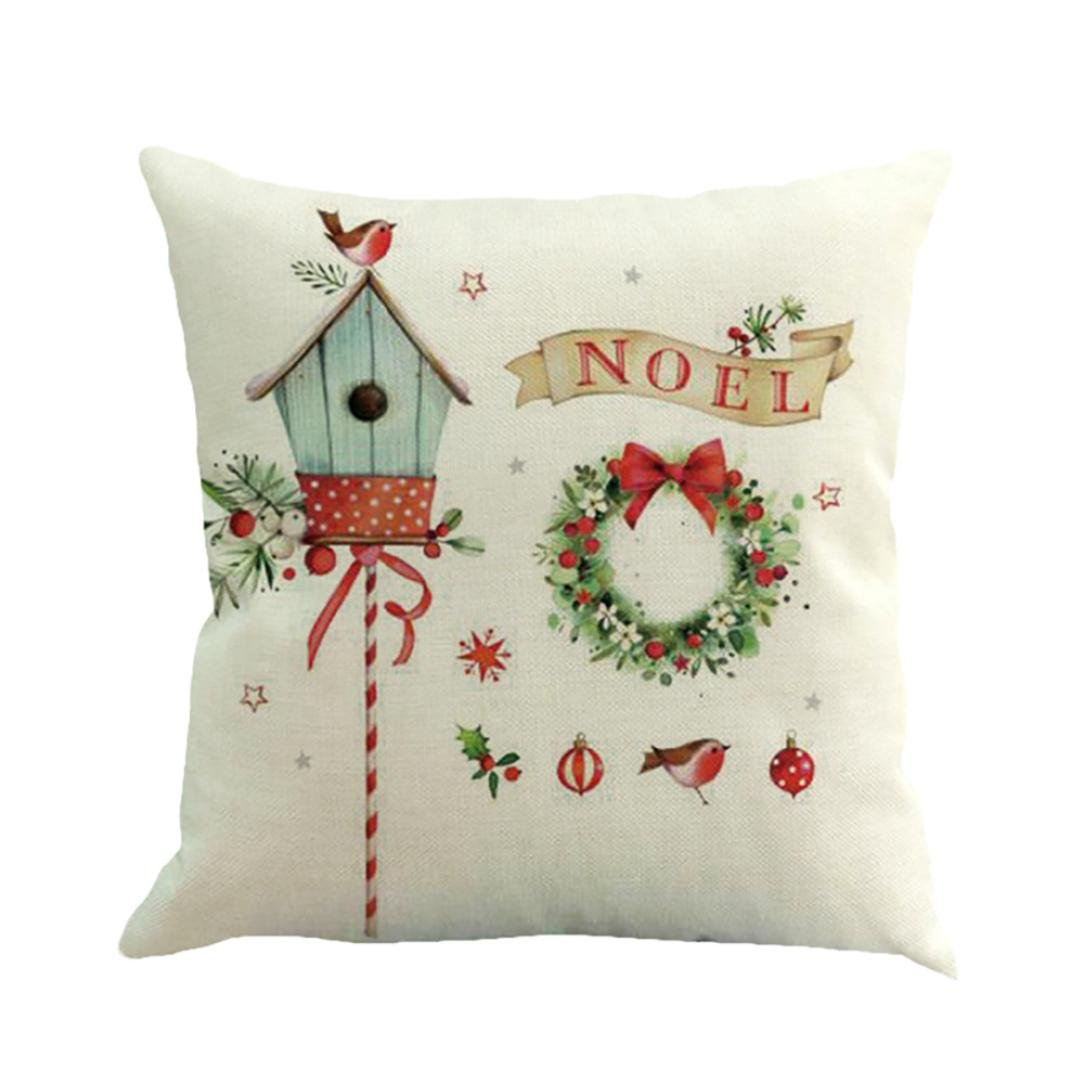 Christmas Pillow Cases 18x18 Mingfa Soft Cotton Linen Sofa Bed Home Throw Cushion Cover Xmas Theme (A) Mingfa.y IFMSSVHU11516