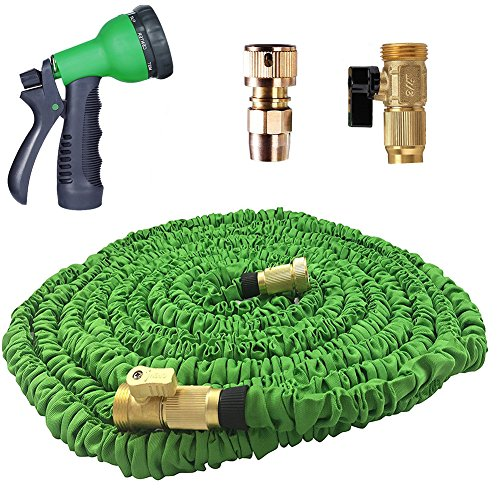 Expandable Garden Hose, Strongest Expandable Hose, Stainless Steel Holder (pat pend), Brass Fittings, Rugged Nylon Fabric, Double Latex Core, 8 Way Sprayer (75 Feet, Green) (Pend Outdoor)